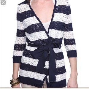 Striped blue and white cardigan sweater